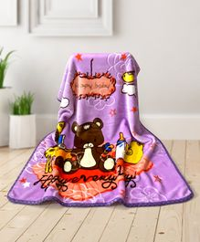Babyhug Premium Embossed Mink Blanket Teddy Bear Print - Purple