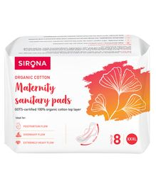 Sirona Biodegradable Super Soft Sanitary Pads White XXXLarge - Pack of 8