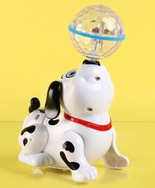 Musical Dancing Dog with Crystal Ball - White