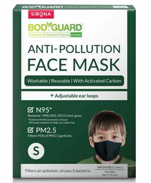 BodyGuard Small N95 + PM2.5 Anti Pollution Face Mask with Activated Carbon - Black