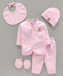 I Bears Baby Gift Set Teddy Embroidery Pack of 5 - Pink
