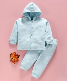 DoreMe Full Sleeves Hooded Winter Wear Night Suit Bunny Print - Blue