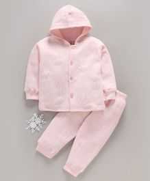 Doreme Full Sleeves Hooded Winter Wear Night Suit Bunny Print - Pink