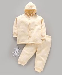 Doreme Full Sleeves Hooded Winter Wear Night Suit Bunny Print - Light Yellow