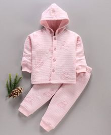 DoreMe Full Sleeves Hooded Winter Wear Night Suit Winnie The Pooh Print - Pink