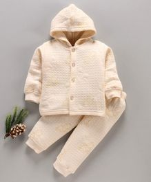 DoreMe Full Sleeves Hooded Winter Wear Night Suit Winnie The Pooh Print - Yellow