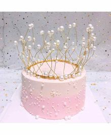 Amfin Crown Shape Cake Topper - White & Gold