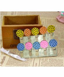 Amfin Colorfull Circle Shaped Clips with Jute Thread - Pack of 10