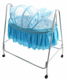 Kiddery Clio Cradle with Polka Dot Mosquito Net - Blue