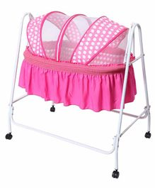 Kiddery Clio Cradle with Polka Dot Mosquito Net - Pink