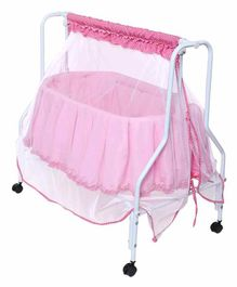 Kiddery Lyra Luxury Cradle with Mosquito Net - Pink