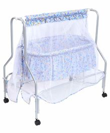 Kiddery Lyra Luxury Cradle with Mosquito Net Floral Print - Blue