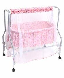 Kiddery Lyra Luxury Cradle with Mosquito Net Floral Print - Pink