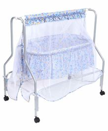 Kiddery Lyra Luxury Cradle with Mosquito Net Floral Print - Light Blue