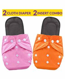 Bembika Solid Reusable Cloth Diapers with Bamboo Inserts Pack of 2 - Pink Orange
