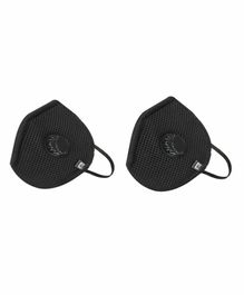 Hotshot H95 6 Layer Triple Particle Filtration Large Reusable Outdoor Mask with Filter Black - Pack of 2