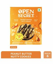 Open Secret Peanut Butter Nutty Cookies Pack of 6 - 25 gm Each