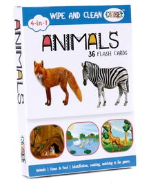 Kyds Play 4 in 1 Wipe & Clean Animals Flash Cards - 36 Cards