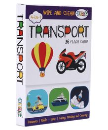 Kids Play 4 in 1 Wipe & Clean Transport Flash Cards - 36