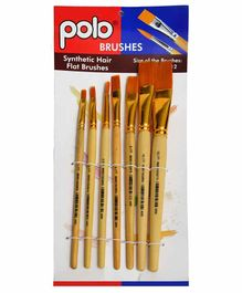 Polo Synthetic Hair Brushes Flat Set of 7 - Natural Handle