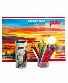 Polo 36 Pages Drawing Book & 28 Plastic Crayons Multicolor - 36 Pages