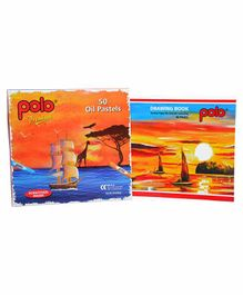 Polo Drawing Book & 50 Oil Pastel Crayons Multicolor - 36 Pages