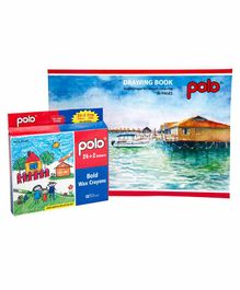 Polo Drawing Book & 26 Bold Wax Crayons Multicolor - 36 Pages