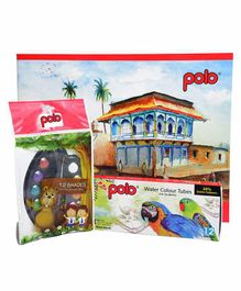 Polo A3 Drawing Book, Water Color Cakes & Color Tube Combo Multicolor- 36 Pages