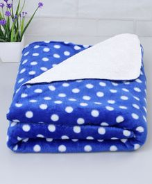 Zoe Poly Wool Blanket Polka Dots Design - Blue
