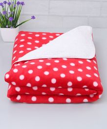 Zoe Poly Wool Blanket Polka Dots Design - Red