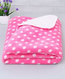 Zoe Poly Wool Blanket Polka Dots Design - Pink