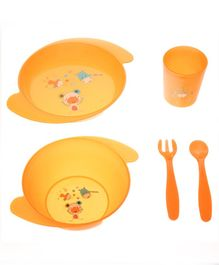 Babyhug 5 Piece Feeding set Animal Print- Yellow