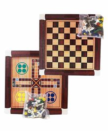 Muren 2 In 1  Wooden Chess and Ludo Board Game - Brown
