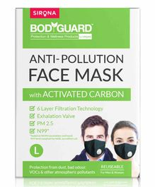BodyGuard Large N99 + PM2.5 Anti Pollution Face Mask with 6 Layer Protection Activated Carbon - Black