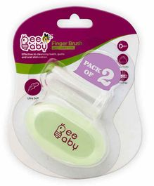 Beebaby Silicone Finger Brush with Carry Case Pack of 2 - Green
