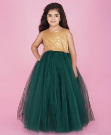 Indian Tutu Sleeveless Sequin Detailing Tutu Flared Gown - Green