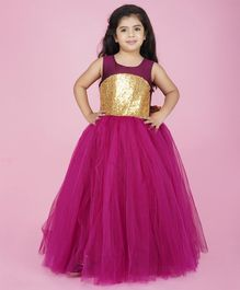 Indian Tutu Sleeveless Sequin Detailing Flared Gown - Purple