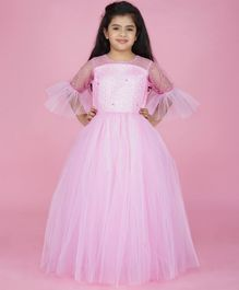 Indian Tutu Three Fourth Sleeves Shimmer Finish Gown - Pink