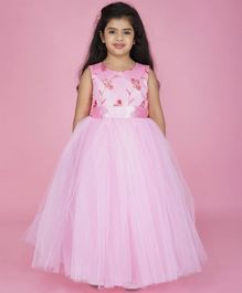 Indian Tutu Sleeveless Flower Embroidered Tulle Flare Gown - Pink