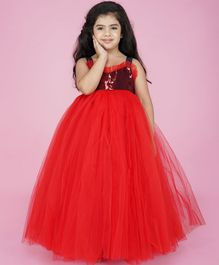 Indian Tutu Sleeveless Heart Shaped Shimmer Finish Yoke Tulle Flare Gown - Red