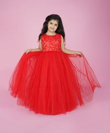 Indian Tutu Sleeveless Floral Embroidered Gown - Red