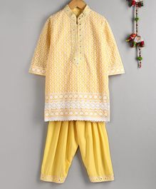 Neha Gursahani Full Sleeves Lucknowi Kurta With Salwar - Yellow