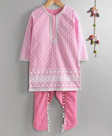 Neha Gursahani Full Sleeves Lucknowi Kurta With Dhoti Pants - Pink