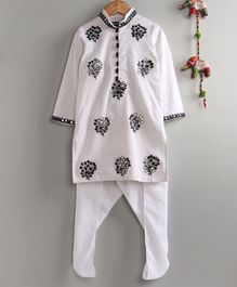 Neha Gursahani Full Sleeves Mirror Work Kurta With Pajama - White