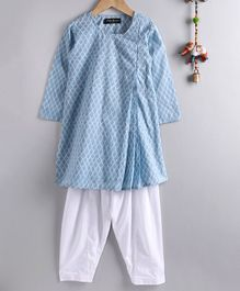 Neha Gursahani Full Sleeves Block Print Kurta With Pajama - Blue