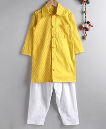 Neha Gursahani Full Sleeves Half And Half Printed Kurta With Pajama - Yellow White