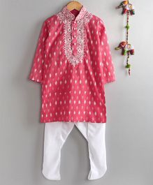 Neha Gursahani Full Sleeves Ikat Pattern Kurta With Pajama - Pink White