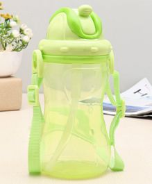 Transparent Water Bottle with Strap Green - 420 ml