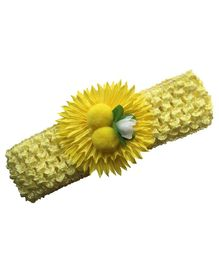 Akinos Kids Crochet Headband With Sunflower Applique & Matching Pompom - Yellow