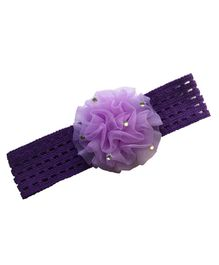 Akinos Kids Headband With Ruffled Flower Applique - Hot Pink